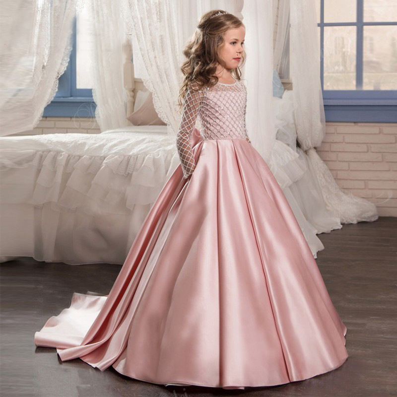 Dress for children long sleeves train dress with bow party dress princess dress lace 2-10 yrs bow detail longline dress