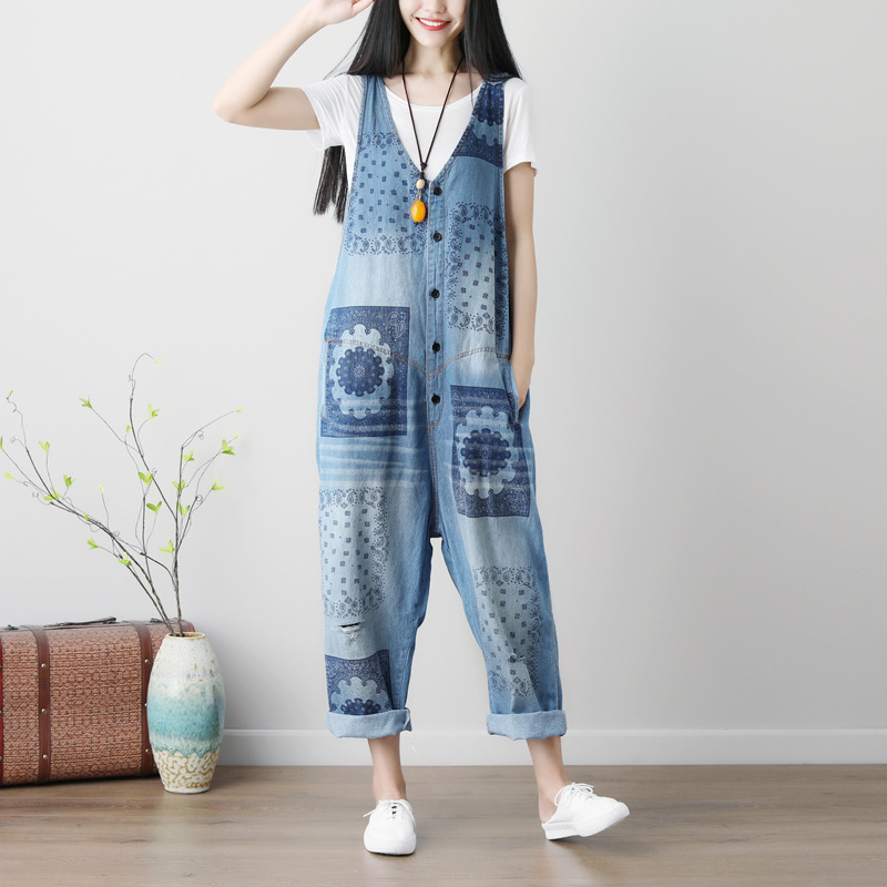 2019 Autumn Womens Button Jumpsuits Casual Loose Comfortable Floral Print Sleeveless Waterwash Women Denim Jumpsuit