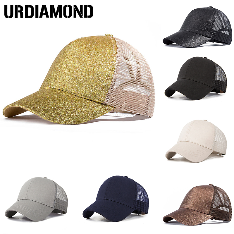 d2b3356953d URDIAMOND 2019 Ponytail Baseball Cap Women Messy Bun Snapback Summer Mesh  Hats Casual Sport Sequin Caps