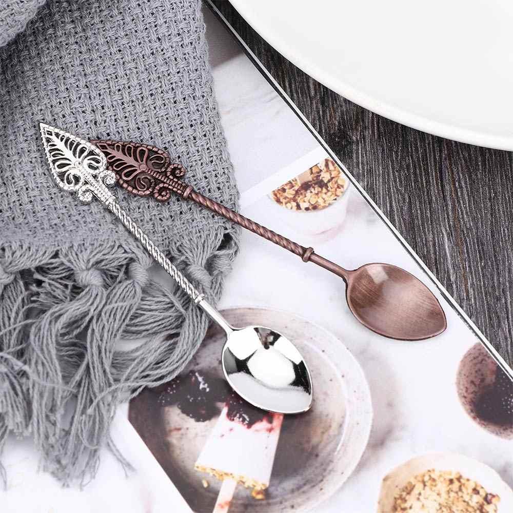 Retro Colher de Café de Açúcar Chá Colheres de Sobremesa Bolo de Mini Sorvete Esculpida Colher De Chá Colher De Chá Pequena Liga Acessórios Talheres
