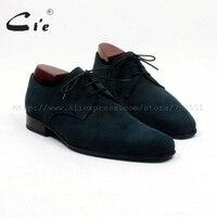 CIE Plain Toe темно зеленый замши узкой обуви Последние 100% натуральной телячьей кожи мужская обувь заказ Мужская обувь ручной работы обувь на пло