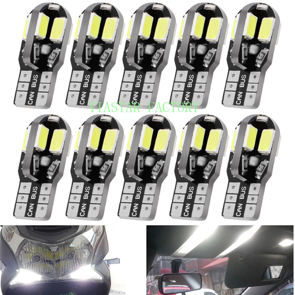 Yiastar <font><b>100X</b></font> <font><b>T10</b></font> 8 SMD 5630 5730 LED Canbus Error Free auto Lights W5W 8smd Car Wedge Tail Side Bulb reading lamp NO ERROR 12V image