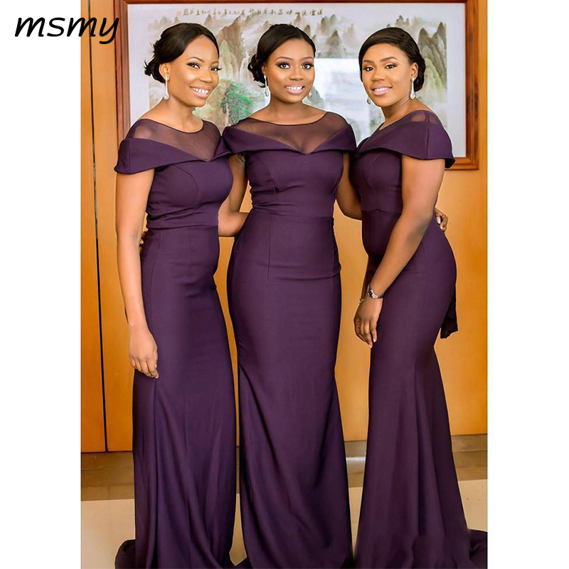 South African Dark Purple Bridesmaids Dresses Summer Boho Garden Wedding Guest Gowns Maid Of Honor Plus Size Dress Cheap