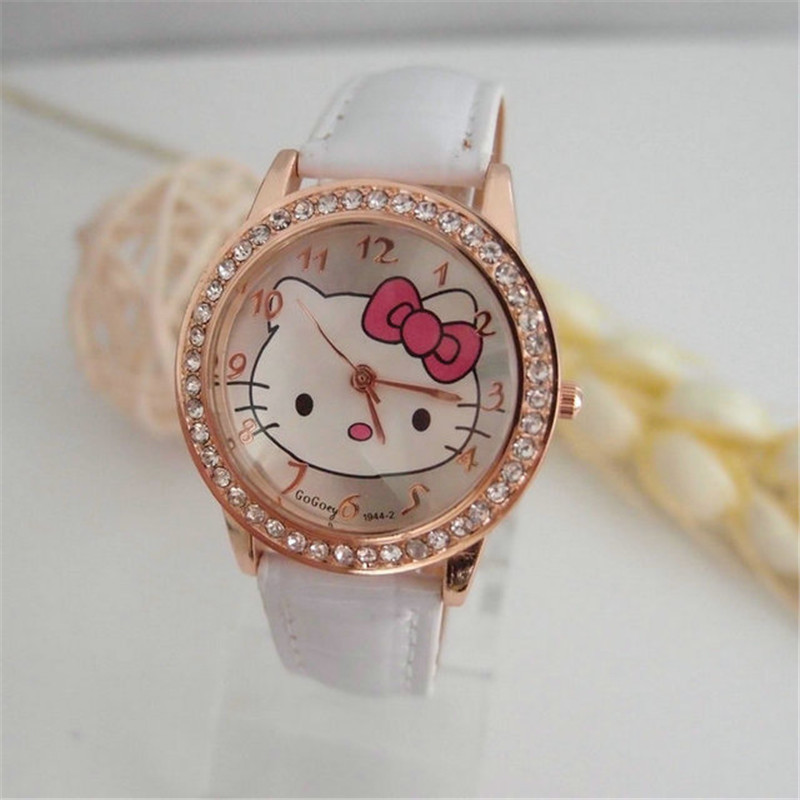High Quality gogoey brand hello kitty Kids watch children girls women crystal dress quartz wristwatch Relogio Femininokt020 elanrom summer men formal derby wedding dress shoes cow genuine leather lace up round toe latex height increasing 30mm massage