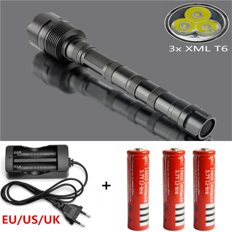 3600LM 3x Camp XML T6 5Modes LED Police Flash light Torch Waterproof  Tactical Flashlight + 3x18650 Battery+EU/US/UK charger eu us power cree xm l2 led flashlight zoomable 5 modes tactical torch riding flash light with 18650 battery charger bike holder