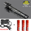 3600LM 3xCREE XML T6 5Modes LED Police Flashlight Torch Waterproof  Tactical Flashlight + 3x18650 Battery+EU/US/UK charger