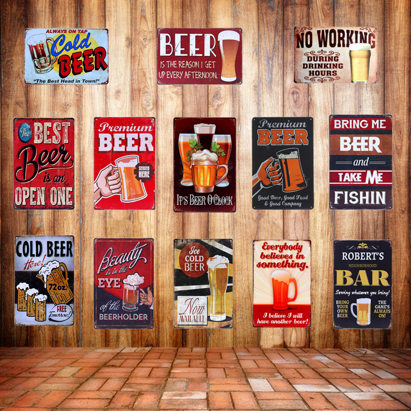 Retro placă Premium BEER Semne de metal Tin Vinuri BAR Pub Acasă Decorațiuni de perete Art Cerveja Poster Pictura pe perete Decorative Craft A627