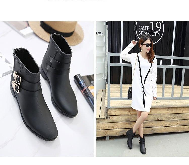 b04f4b21fa0 2017 nova moda H fêmea tubo curto botas de chuva rainboots sapatos de  fivelas de Inglaterra não-slip galochas de borracha