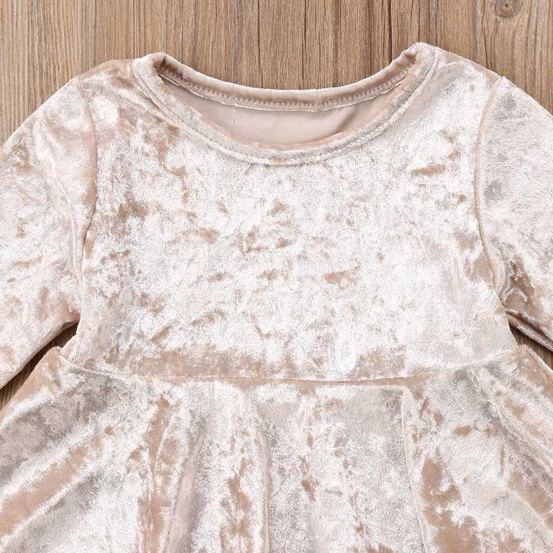 Детское платье принцессы с кисточками и длинным рукавом для маленьких девочек, яркое золотистое бархатное платье с круглым вырезом, праздничная одежда