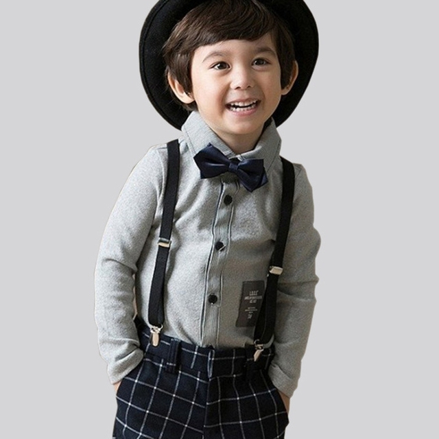 Drop Shipping Children Clothes Warm Plush Lining Outfits Boys Kids Wedding Formal Suits Tops+Pants+Bow Tie+Suspender