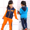 Осень Устанавливает для Девочки Детская Спортивная Одежда Устанавливает Длинный Рукав Детей Джинсовые Пальто + Брюки Костюмы Ребенок Активные Одежда Костюмы 5-10