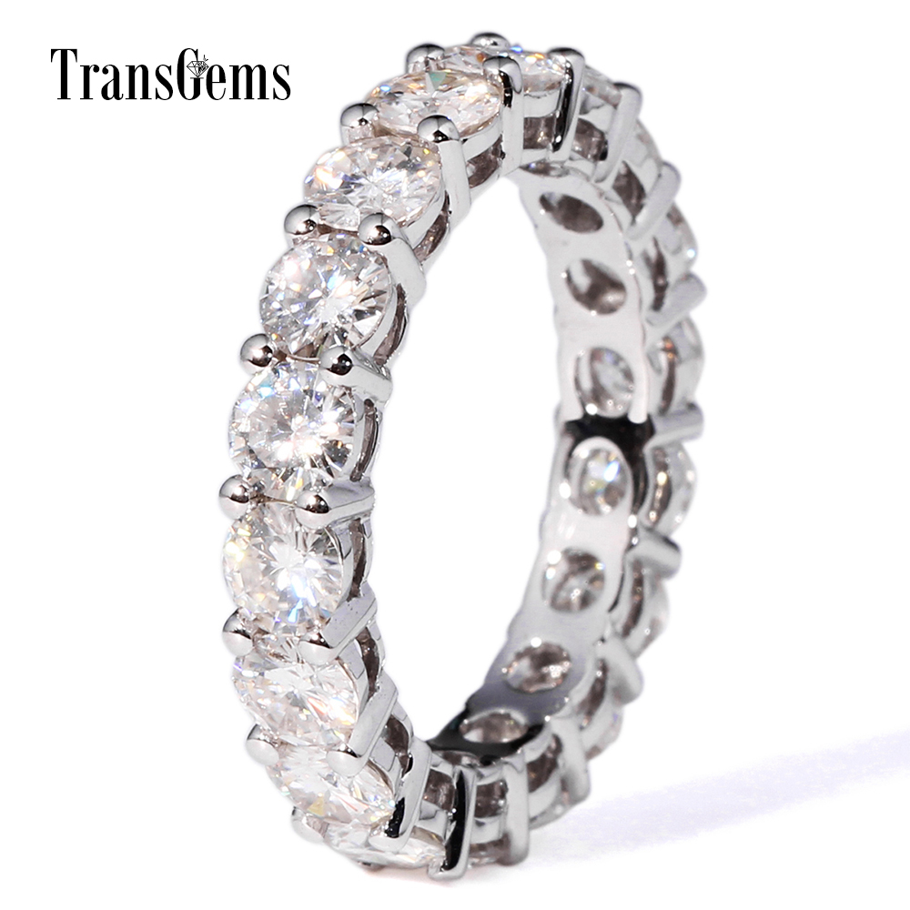 TransGems Lab Diamond Eternity Band 4.25CTW Moissanite Eternity Wedding Band 14k Gold Real Lab Grown Diamond Engagement Ring transgems 18k white gold 0 5 carat 5mm lab grown moissanite diamond solitaire pendant necklace for women jewelry wedding