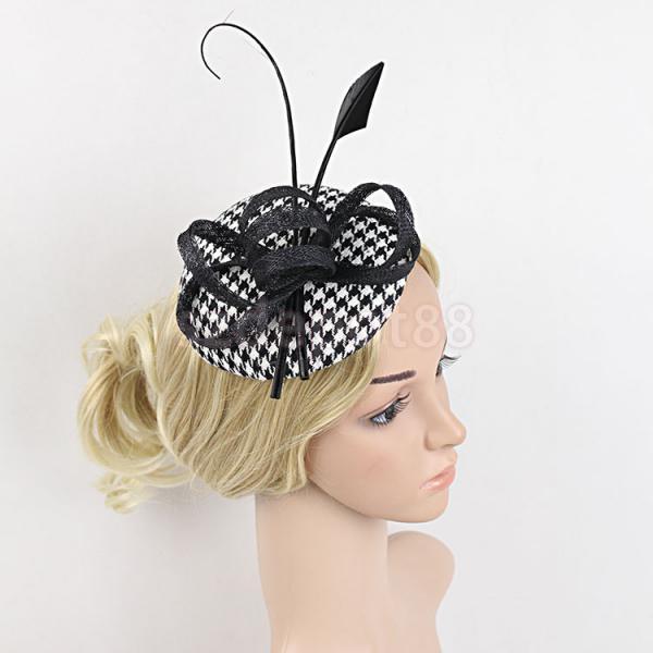 Flower Fascinator Feather Ribbon Grid Mini Top Hat Hair Clip Wedding Black 4897a6225dc