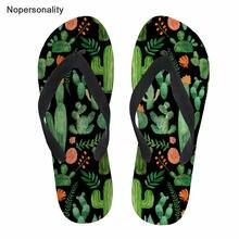 Nopersonality летние тапочки кактус печати для женщин мягкая