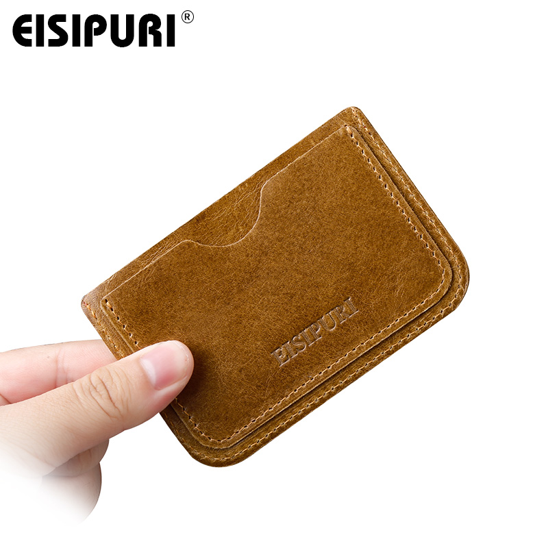 EISIPURI Genuine Cow Leather Mini Men Card Holders Male Thin Credit ID Card Holders Small Coin Purse Slim Men Bank Cards Wallets