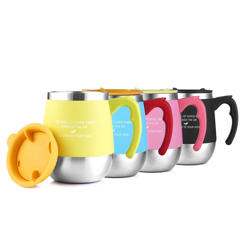 0f388348eec ONEDAY 450ML Coffee Travel Mug Stainless Steel Milk Tea Coffee Thermal Mug  With Handle Insulated Thermocup Tumbler Cups Teacup