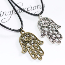Hamsa Fatima Hand Necklace Vintage Ancient Bronze Silver Choker Palm Charms Pendant Hippy Necklace Jewish Judaica Kabbalah