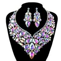 Bridal wedding Jewelry sets shining AB rhinestone tinh phụ nữ vòng cổ và hoa tai thiết lập thời trang lớn tuyên bố ăn mặc trang sức