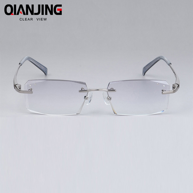 cd90fe33019d QJ Luxury Eyeglasses Rimless Men Myopia Prescription Eye Glasses Diopter  Rhinestone High Clear Lenses gentlemen Reading Eyewear