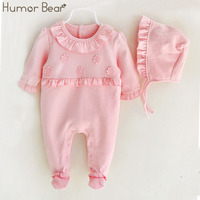 Humor Bear Infant Jumpsuit Baby Suit 2017 Christmas Newborn Baby Girl Clothes Girls Flower Design Hats