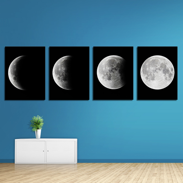 Moon Art On Canvas Wall Decor Spray Printed To Full Moon Waning Oil  Painting Unframed Modern