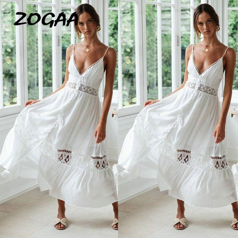 White Lace Summer Dress 2019 Women Sexy Sleeveless Hollow Out Spaghetti Maxi Dress Ladies V Neck Beach Casual Elegant Vestidos