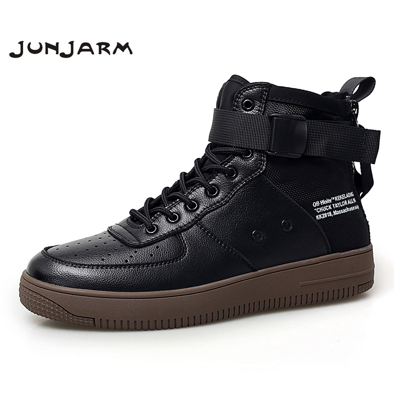 JUNJARM 100% Genuine Leather Men Boots Fashion Men Ankle Boots Footwear Lace Up Shoes Men High Quality Vintage Men Winter Shoes