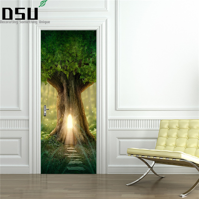 200*77cm DIY 3D Door Stickers PVC Material Waterproof Doors Poster for Bedroom Home Decor 2pcs/set Wall Sticker for Living Room