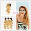Stella Reina Cabelo Virgem Malásia Lace Encerramento Com 3 Bundles Raízes escuras #27 Honey Blonde Ombre Onda Do Corpo Do Cabelo Humano extensão
