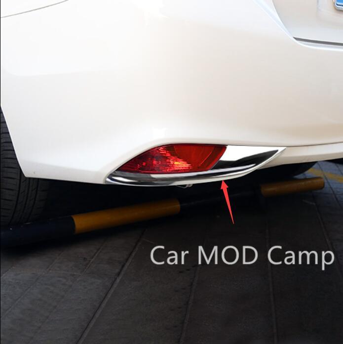 For Toyota Vios Yaris Sedan 2017 ABS Chrome Rear Fog Light Fog Lamp Cover Trim 2pcs Car Styling Accessories! 2pcs set new car rear fog light lamp brake light car styling specific for toyota fortuner 2015 2016 12v dc