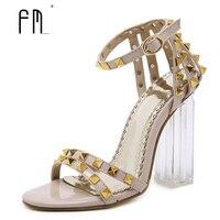 Rivets High Heel Sandals Women Transparent Heel Shoes 2017 Summer Sexy Banquet Shoes Buckle Strap Heels