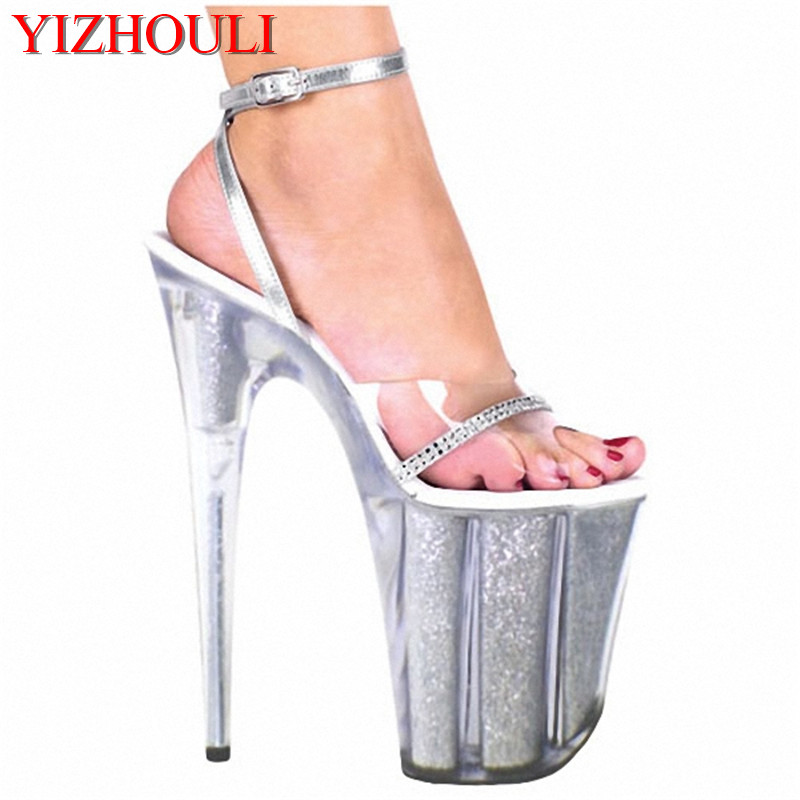 Plus Size 20CM Sexy Super High Heel Platform Crystal shoes 8 inch clear fashion shoes sandals for women sexy clubbing high heels 20cm unusual high heel shoes silver 8 inch high heel gladiator sandals crystal platform slippers made in china sexy rome shoes