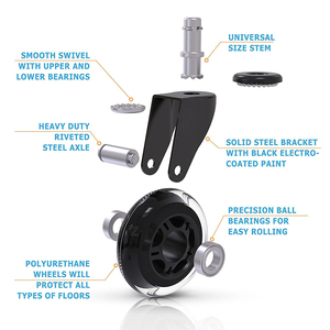 """Image 3 - 5PCS KAK 3"""" Universal Mute Wheel Office Chair Caster Replacement 60KG Casters Rubber Soft Safe Roller Furniture Wheel Hardware"""