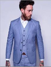 2017 Latest Coat Pant Designs Light Blue Linen Suits Men Casual Slim Fit Summer Beach Custom Simple Blazer Men 3 Piece Terno W62
