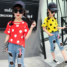 2 Pieces/set Girls Jeans Pants+Dot Cotton T-shirt Girls Pants Sets for Four-12 Years Kids Skinny Jeans Girl Suit for Summer 5L07