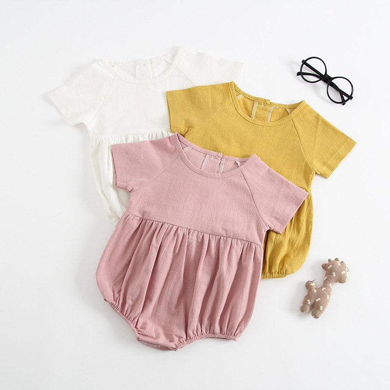 2018 Cute Infant Baby Girls Boys Clothes Summer Short Sleeve Solid Color Linen Cotton Romper Casual Baby Romper Jumpsuit Outfits v cut solid romper with tied strap