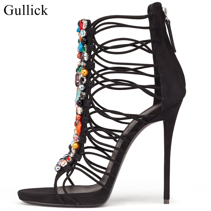 Gullick Colorful Crystal Embellished High Heels Sandals Peep Toe Cut-out Zipper Cage Shoes Thin Heels Strappy Sandals Woman hot sale crystal embellished strappy sandals beige suede cut out cage shoes for women back zipper high heel summer dress shoes