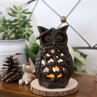 Wedding Decoration Metal Candle Holder Candlestick Antique Iron Owl Figurines Home Room Decorative
