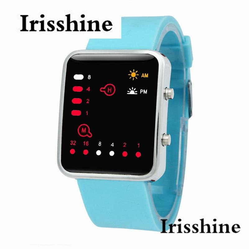 i0727 unisex watches Clock brand luxury gift Women Mens Digital Red LED Sports Watch Binary Wristwatch