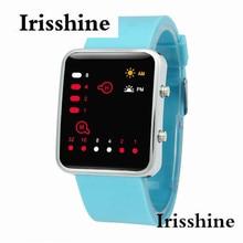 I0727 unisexe montres Horloge marque de luxe cadeau Femmes Hommes Numérique LED Rouge Sport Montre Binaire Montre-Bracelet En Silicone en gros