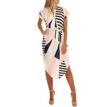 vintage 60s print dress xxxl women summer short sleeve 2018 office ladies striped dress plus size  brand vestidos female  ON