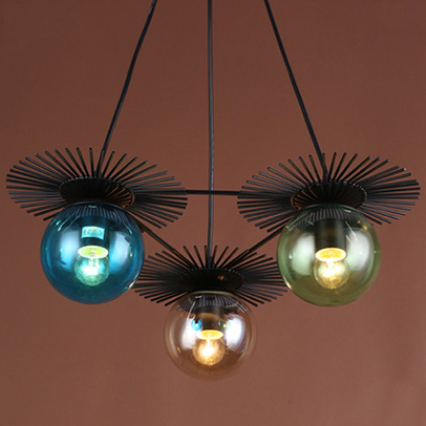 ФОТО Nordic vintage creative glass ball iron pendant light,1/3/4 heads colorful glass lampshade hanging lamp for restanrant bar cafe