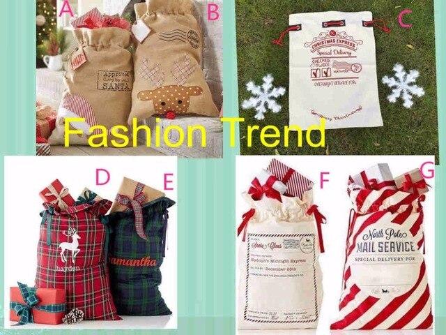 30pcs Lot Free Shipping Hot Christmas Canvas Gift Bag Whole Santa Sacks Stripe Plaid Burlap
