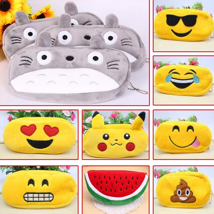 цена на Kawaii Cartoon Pen case Totoro plush Smile Face Emoji Cute Pencil case School Minecraft etui trousse scolaire stylo 04819