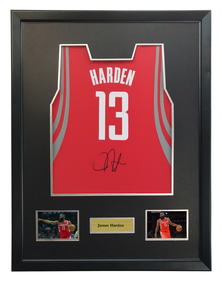 9af7d3e90a6 James Harden signed autographed basketball shirt jersey come with Sa coa  framed Rockets