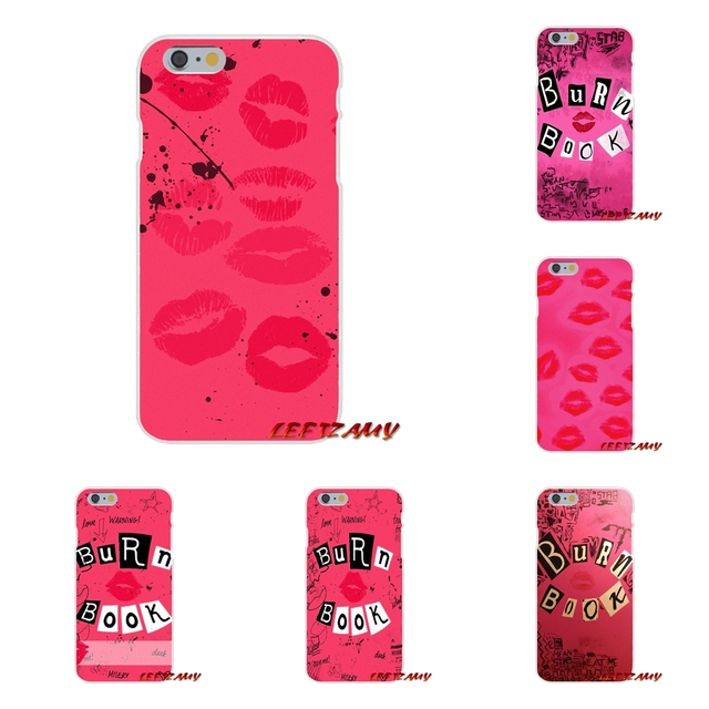 wholesale dealer 983cf 212b4 US $0.99 |Burn Book Mean Girls Kiss Pink Slim Silicone phone Case For  iPhone X 4 4S 5 5S 5C SE 6 6S 7 8 Plus-in Half-wrapped Case from Cellphones  & ...