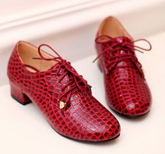 (Black+Beige+Red)Fashion Crocodile Patent Leather Sqaure Heel Oxford For Women Plus Size 34-43 Lace Up Four Seasons Lady