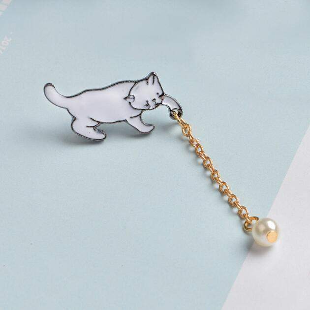 Jisensp Alloy Cute Little White Imitation Pearl Cat Brooch Pins Chic Fashion Jewelry Bijoux Brooch Wholesale Women Accessories 5