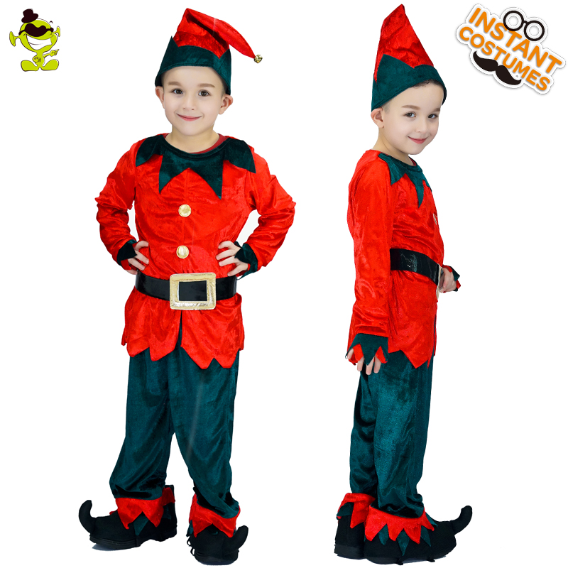 Hot Sale Kids Elf Costume Fancy Dress Christmas&Halloween Party Cosplay Red Santa Claus Elf Clothes Masquerade Boy Carnival