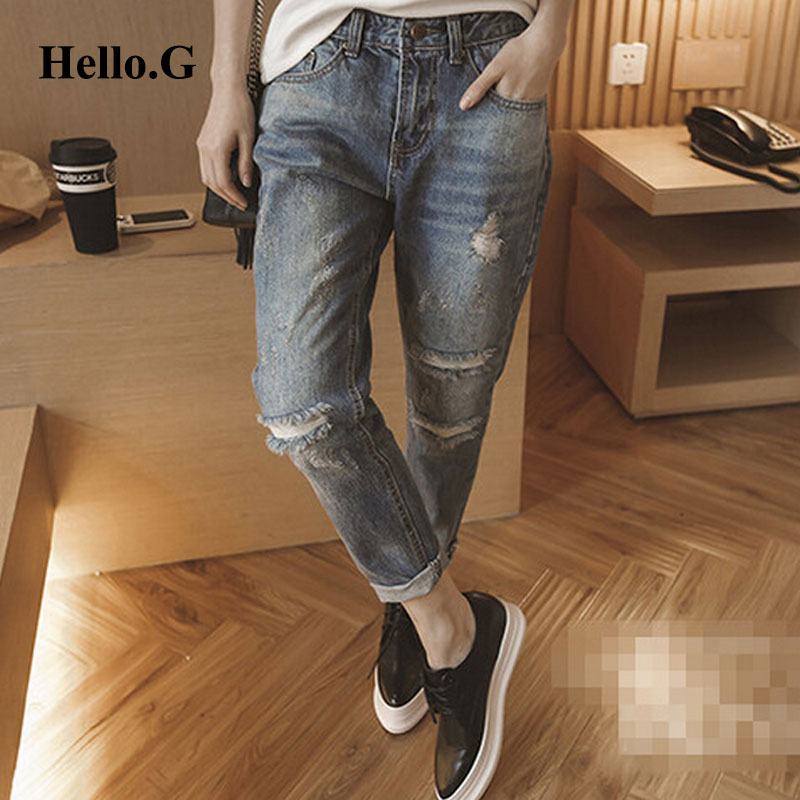 Plus Size XXXXXL Street Summer Harem Pants Women Casual Washed Holes Denim Jeans Female Boyfriend Jeans For Women Trouser 2016 summer mens retro slim fit casual jeans vintage washed street wear cargo denim shorts with holes for men